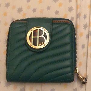 Henri Bendel green snap wallet with zip pocket